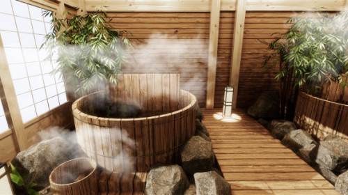 Japanese Onsen Hot Bath Spa Steam coming from hot water