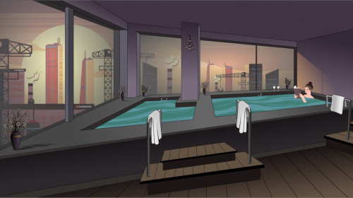 Azalea Suites Onsen Cartoon Illustration Relax